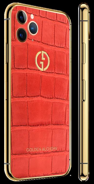 iPhone 11 Pro Gold Red Alligator Geranium