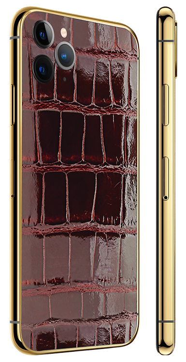 iPhone 11 Pro Gold 24k Wine Glazed Alligator