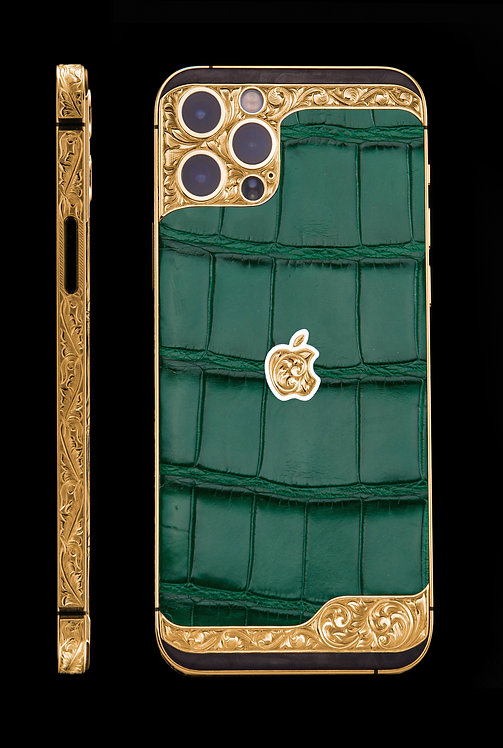 iPhone 12 Pro Ornate Aristocrat Gold 24k Green Alligator