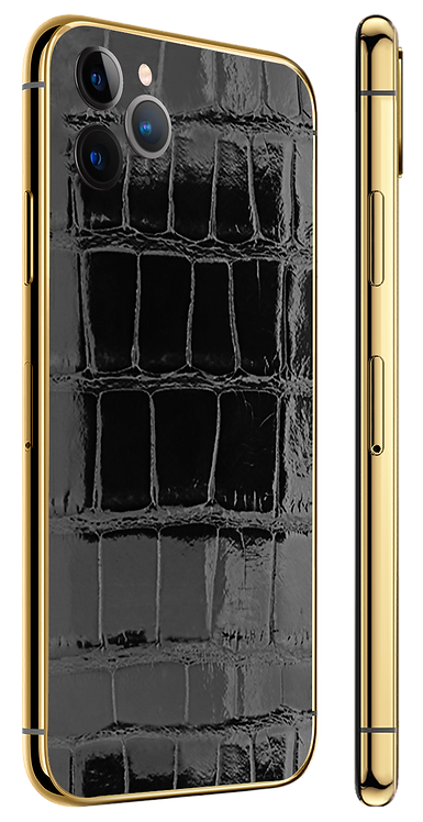 iPhone 11 Pro Gold 24k Black Glazed Alligator
