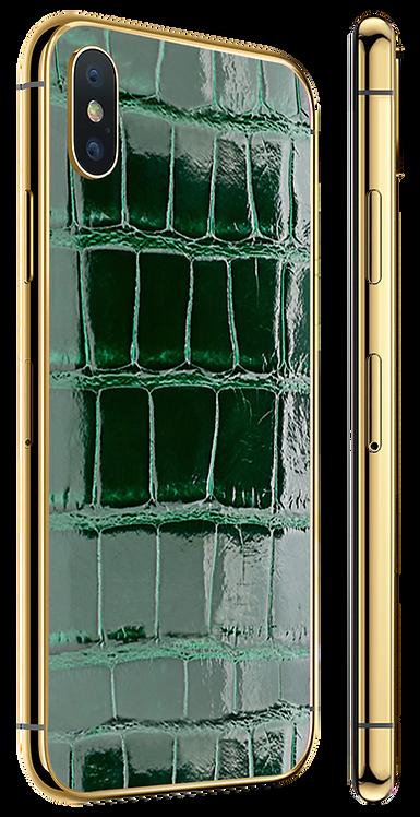 iPhone X Gold Green Glazed Alligator