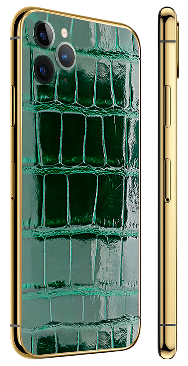 iPhone 11 Pro Gold 24k Green Glazed Alligator