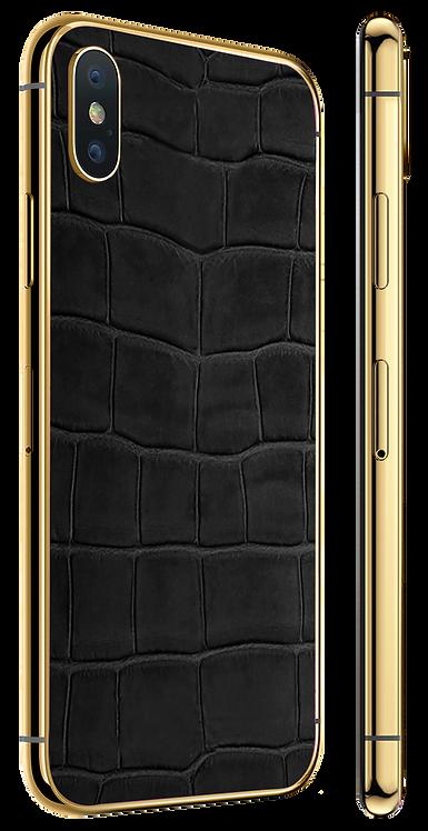 iPhone X Gold Black Alligator