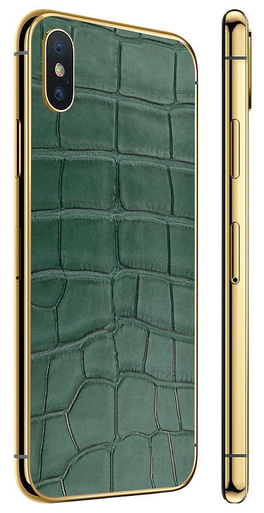 iPhone XS Gold Green Alligator