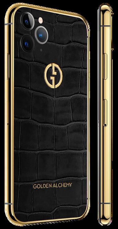 iPhone 11 Pro Gold Black Alligator