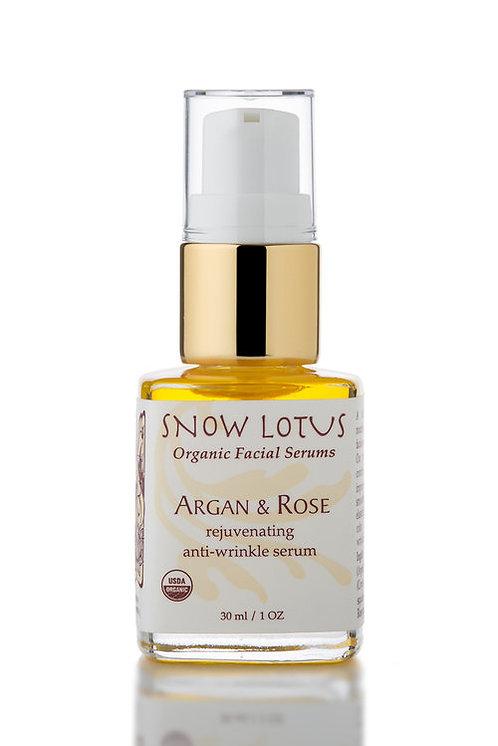 Argan & Rose Rejuvenating Antiwrinkle Organic Facial Serum, 1 oz