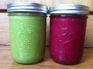 Green smoothie for breakfast (kale, cilantro, avocado,banana, date, almond milk) beet soup for lunch (recipe below!)