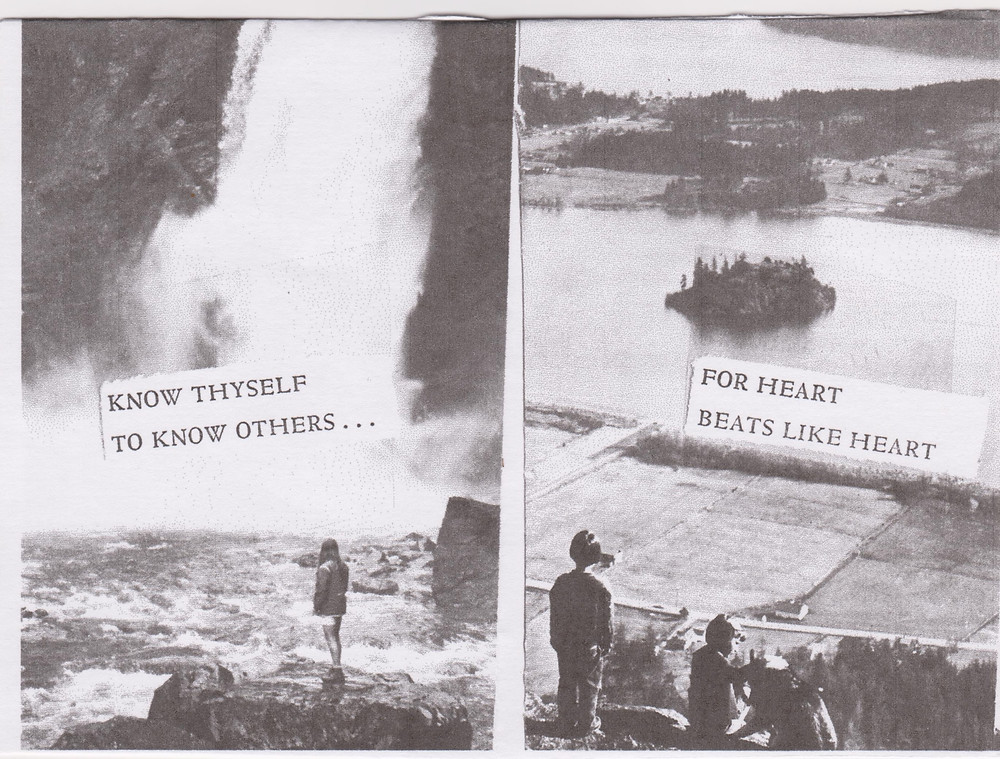 The photo is divided into two. On the left side, the text reads 'know thyself to know others...' with a person looking out towards a waterfall. To the right, two folks look out onto the water. The text reads 'for heart beats like heart.' The picture is in sepia tone.