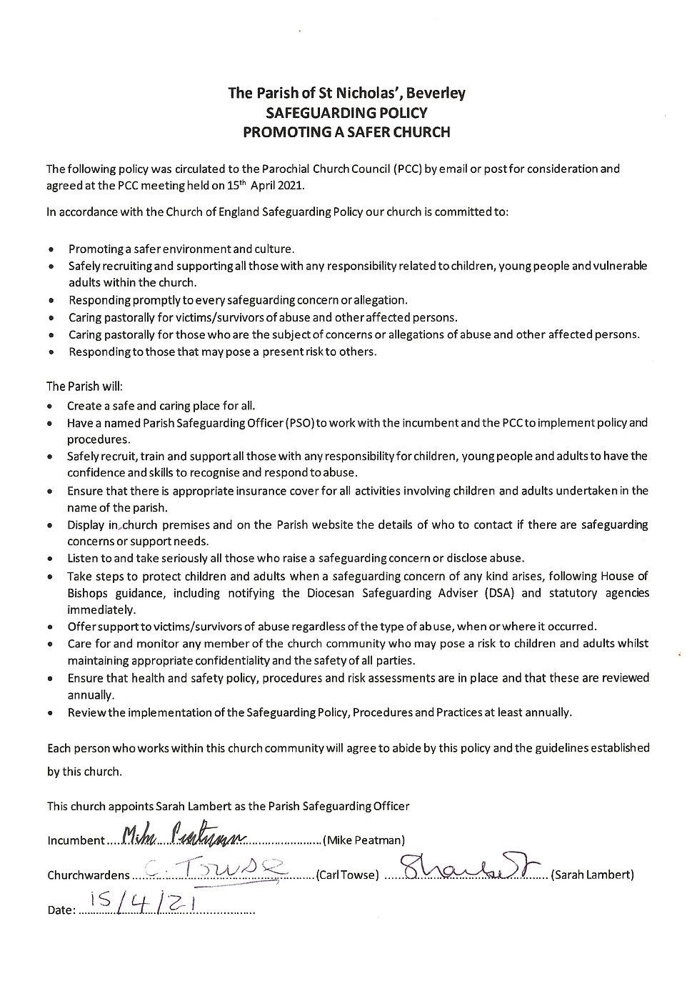 St Nicholas' Church Safeguarding Policy