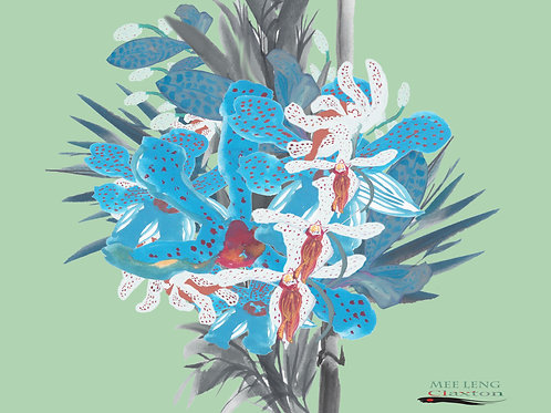 Blue Tiger Orchid n Bamboo