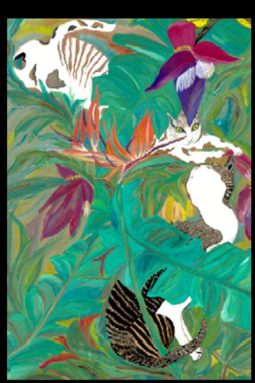 Cats In Love Art Print- Tropical Garden