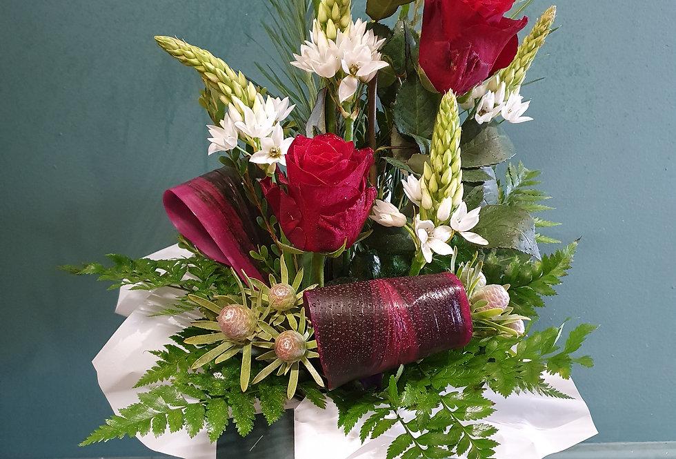 Red Rose Cylinder Arrangement