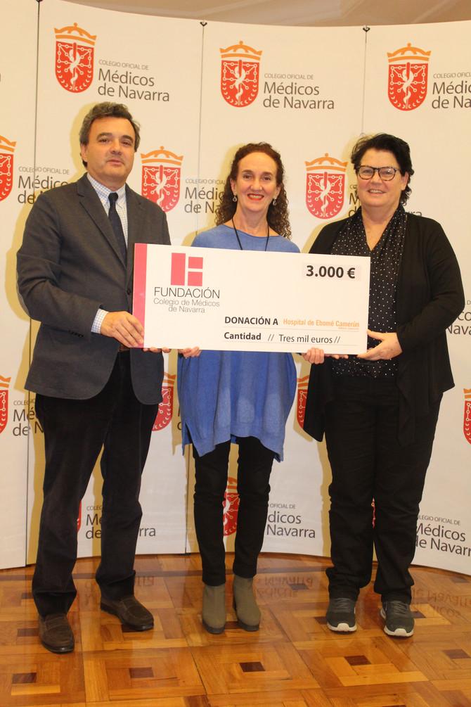 """El Colegio de Médicos de Navarra entrega a la ONG AMBALA 3.000 euros del Concierto Benéfico """"Músicas"""