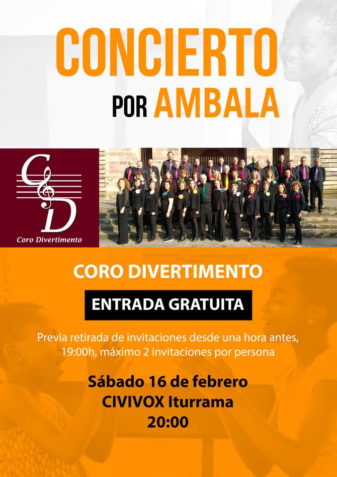 Concierto por AMBALA del Coro Divertimento el 16 de febrero a las 20:00 en Civivox Iturrama