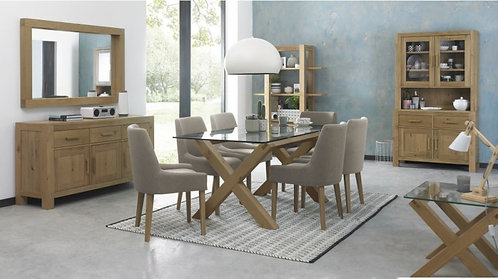 Turin Light Oak Glass Top 6 Seater Rectangular Dining Table