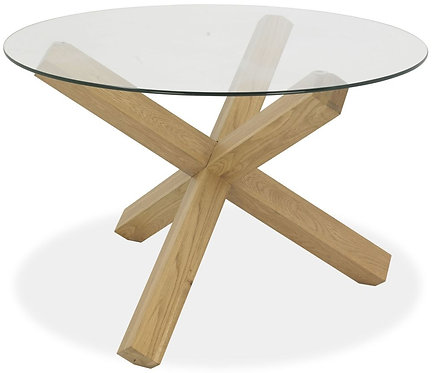 Turin Light Oak Glass Top Round Dining Table - Dia 120cm