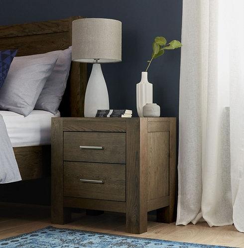 Turin Dark Oak 2 Drawer Bedside Cabinet