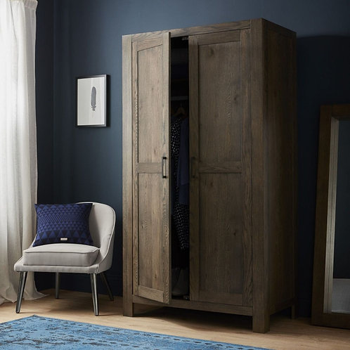 Turin Dark Oak 2 Door Double Wardrobe