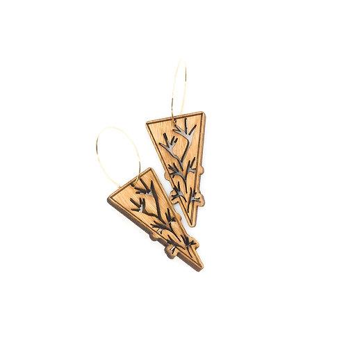 wood earrings | BIRD OF PARADISE