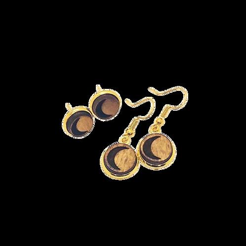 wood earrings   MOON CRESCENT