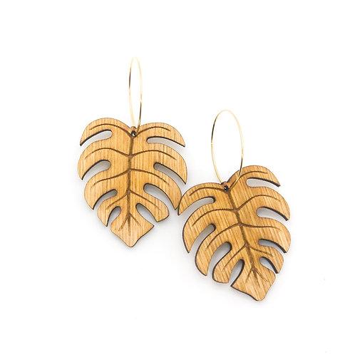 wood earrings | MONSTERA