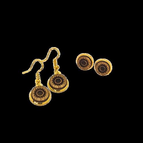 wood earrings | SUN STUDS