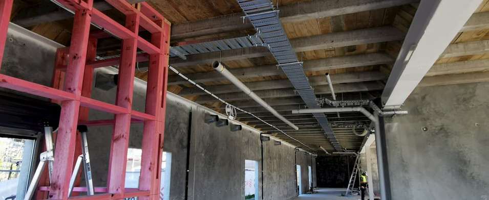 Cable trays inside the Vernon Drive Buil