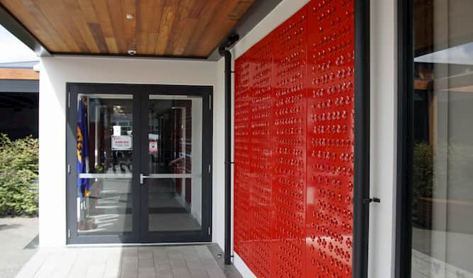 Poppy feature wall at the Rangiora RSA