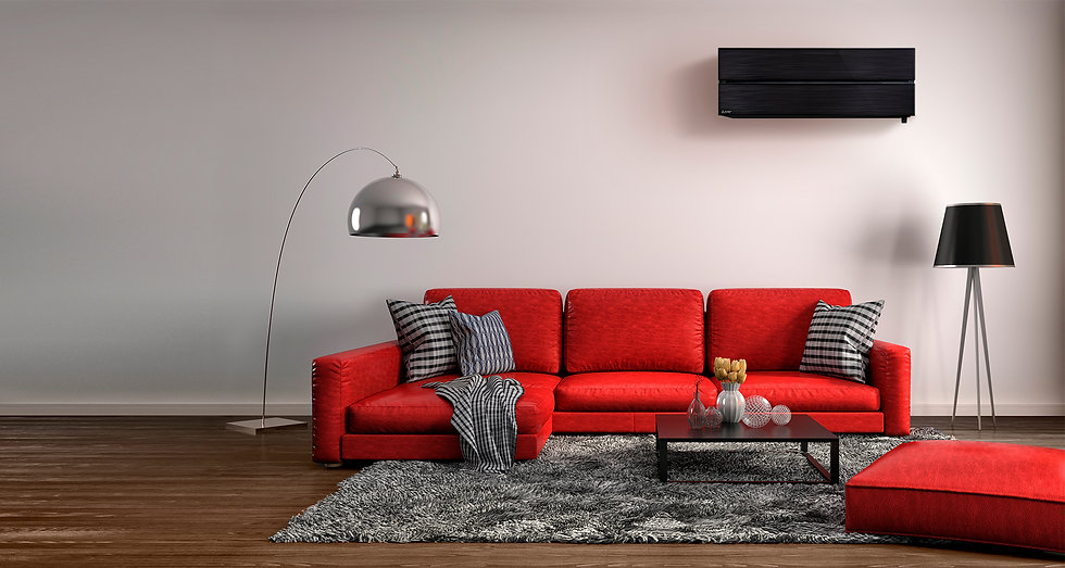 Mitsubishi Electric hight wall heat pump in living room