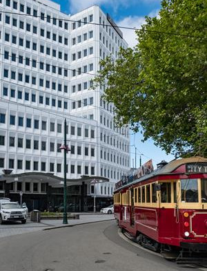 The Distinction Hotel and tram
