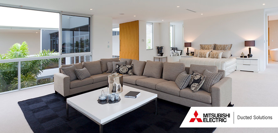 Ducted heat pump grilles in a living room