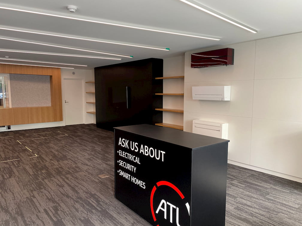 ATL HQ showroom with heat pumps