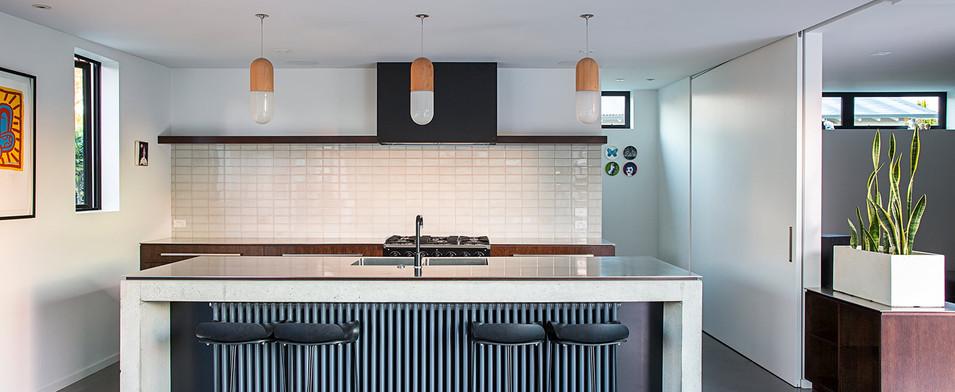 Unique kitchen with pendants