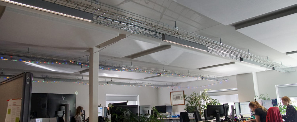 Cables trays in the open-plan office at