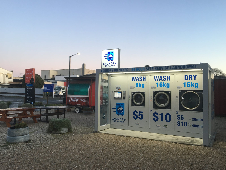Night shot of the Laundry or Naked Pod i