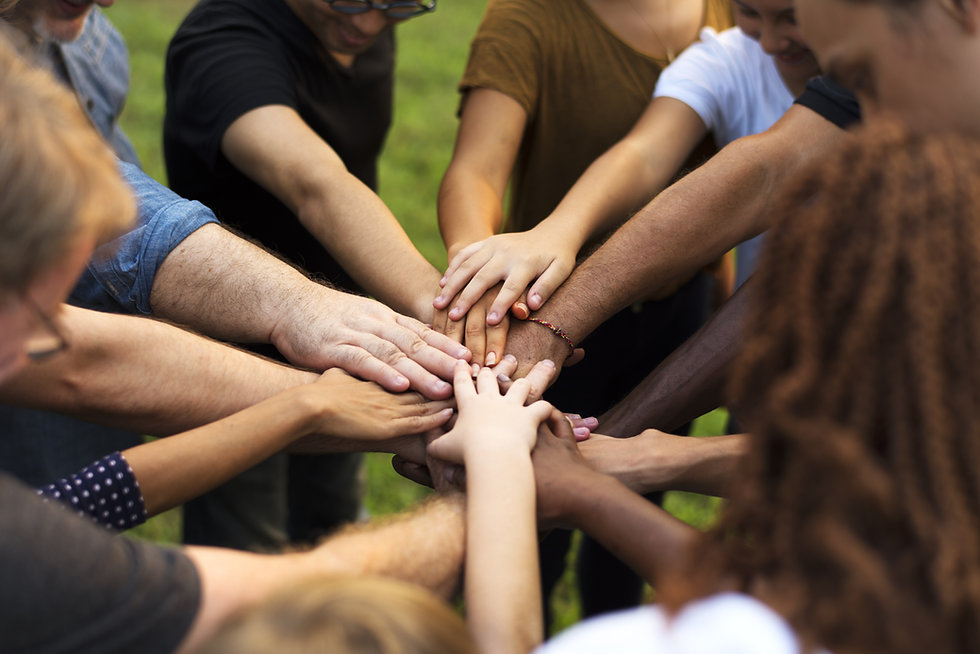 Group of diversity people hands stack su