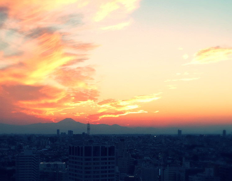 Mount Fuji Sunset Tokyo Japan fiery sky clouds