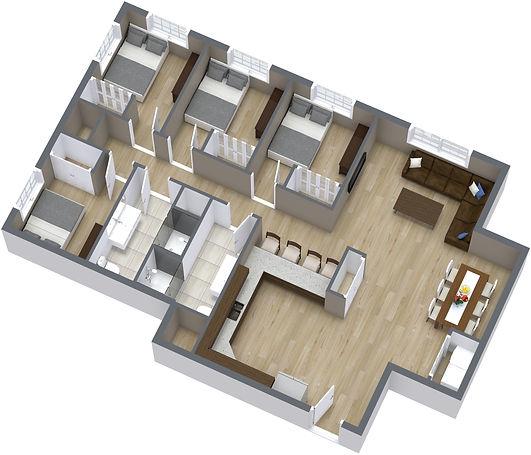 4 Bed, 1130 SF - 1. Floor - 3D Floor Pla