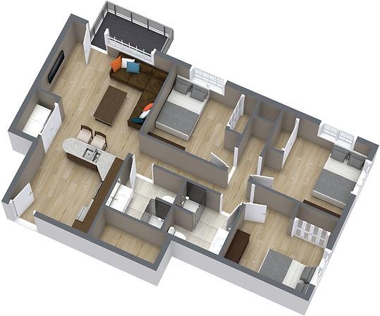 3 Bed, 900SF - 1. Floor - 3D Floor Plan.