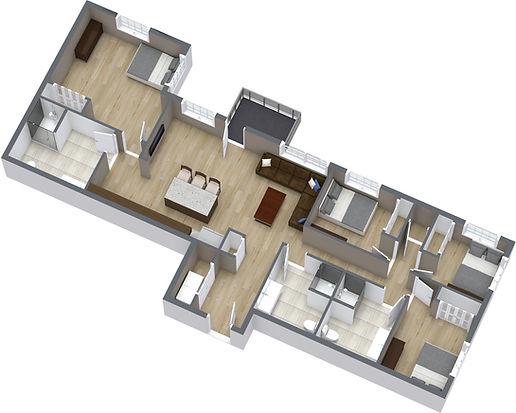 4 Bed, 1370SF - 1. Floor - 3D Floor Plan
