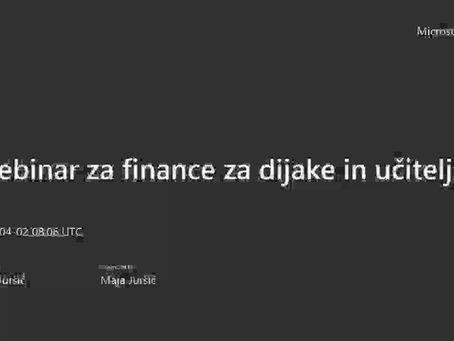 Povzetek Webinarja o financah za učitelje in dijake (2. 4. 2020)