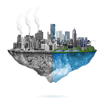 Green ecology city against pollution - s