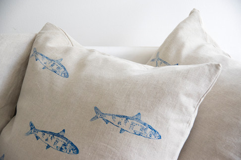 Hand Printed Cushion 50x50cm 100% made in italy 100% linen