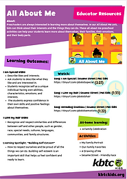"""A page from Preschool Curriculum on the topic """"All About Me"""""""