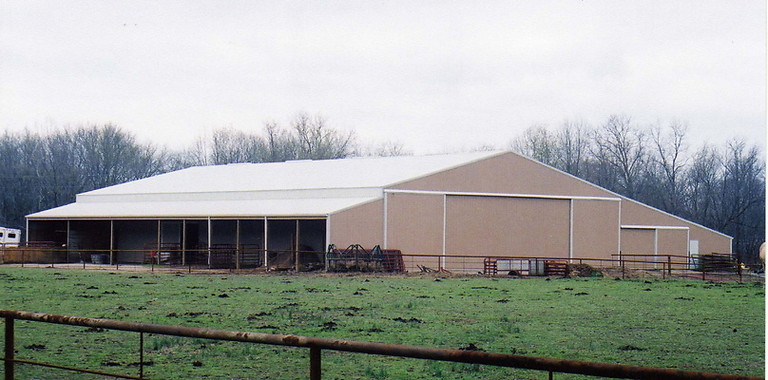 horse barn, riding arena