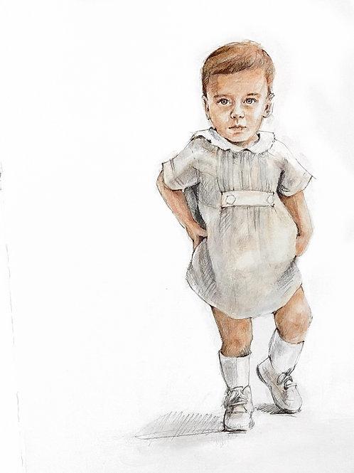 16x20 Lifestyle Watercolor Conte Portrait