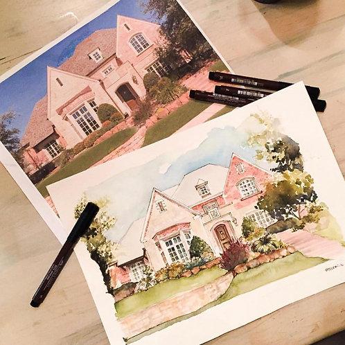 16x20 Watercolor HOME RENDERING