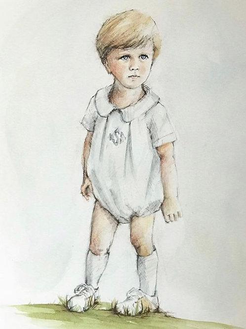 11x14 LIFESTYLE Watercolor Conte Portrait