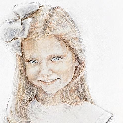 11x14 SINGLE CHILD Watercolor Portrait