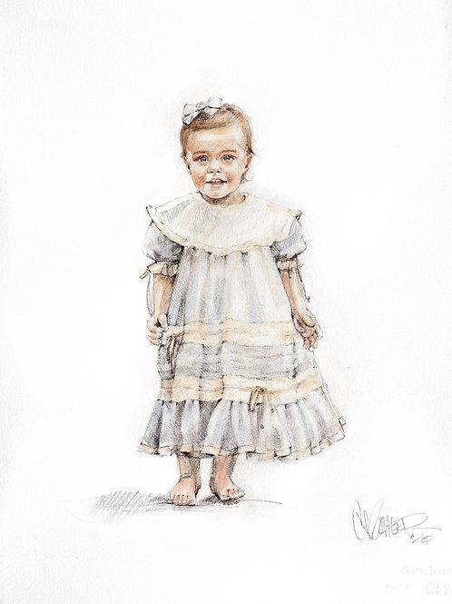 22x30 Single Subject Lifestyle Watercolor Conte Portrait